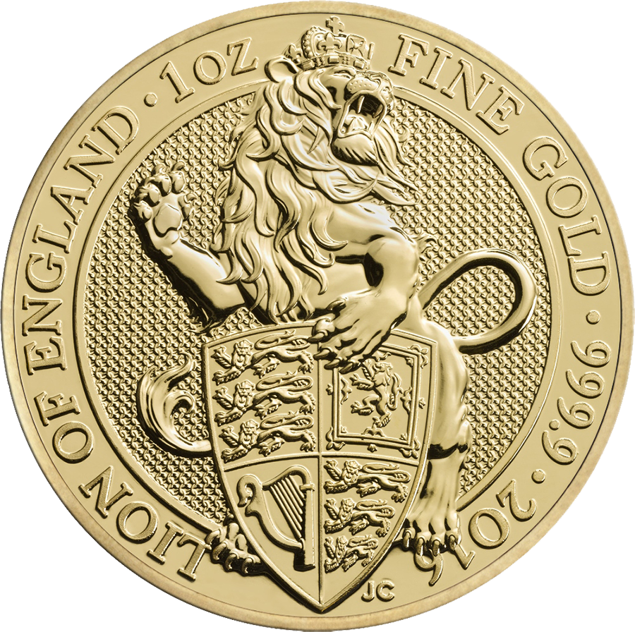 2016 UK Queen's Beasts The Lion of England 1oz Gold Coin