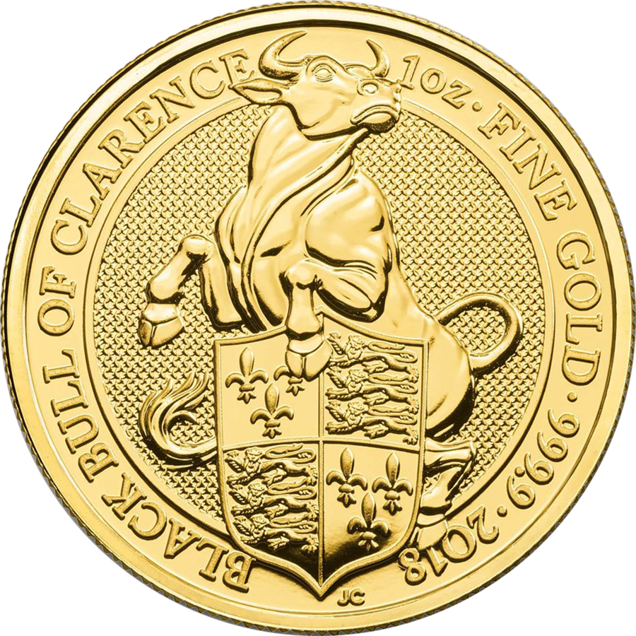 2018 UK Queen's Beasts The Black Bull of Clarence 1oz Gold Coin