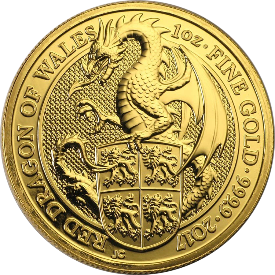 2017 UK Queen's Beasts The Dragon 1oz Gold Coin