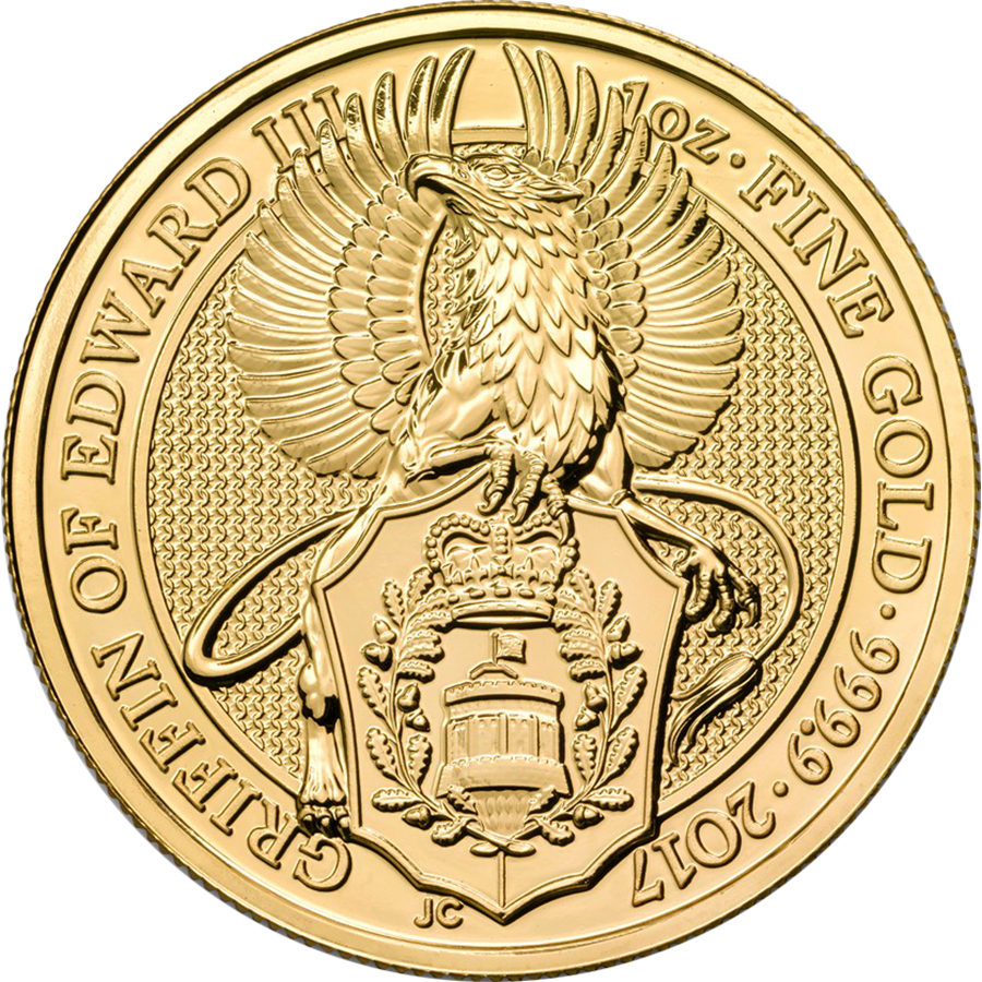 2017 UK Queen's Beasts The Griffin of Edward III 1oz Gold Coin