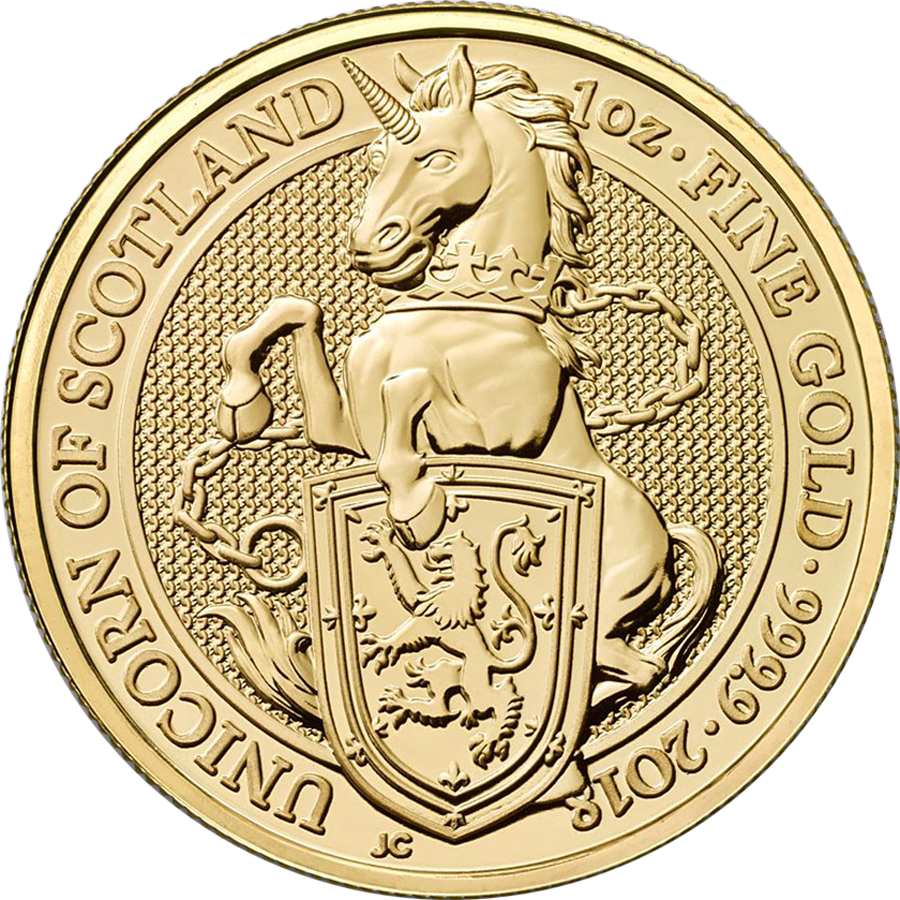 2018 UK Queen's Beasts The Unicorn of Scotland 1oz Gold Coin